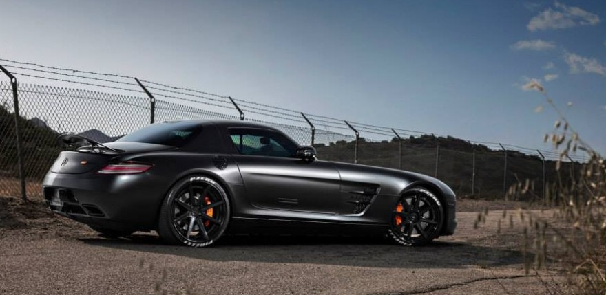 Satanic Satin Black SLS AMG on ADV.1 Wheels