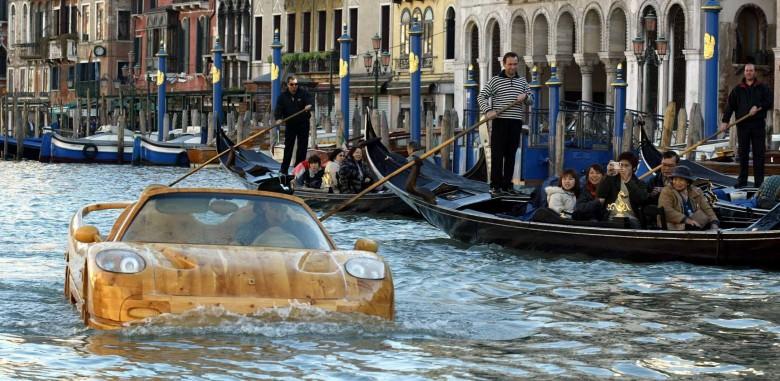 Ferrari F50 Replica Boat Floats on the Streets of Venice