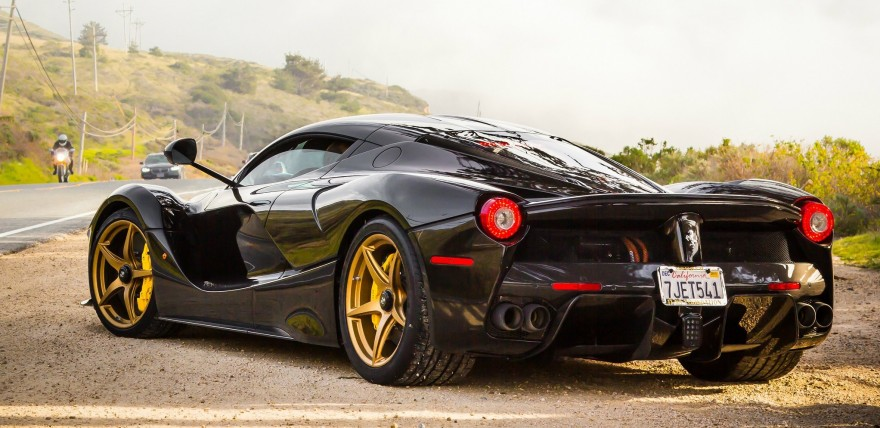 Black Ferrari Laferrari Looking Stunning On Gold Wheels