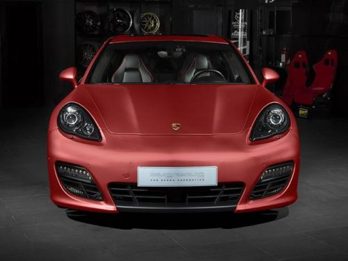 the most notable upgrade that the panamera benefits from is the stunning aluminum red wrap that adorns the entire car slightly matte in nature