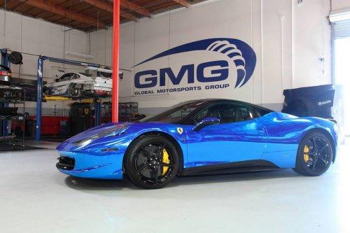 Impressive Wrapped Gmg Blue Chrome Ferrari