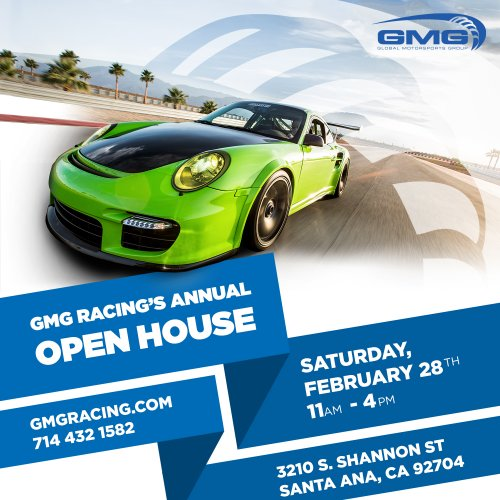 Mark Your Calendars: GMG Racing Open House 2/28/2015