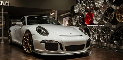 Angelic White Porsche 911 GT3 Sports Gold ADV.1 Wheels