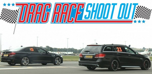 BMW M5 vs Mercedes E63 AMG - Drag Race Shoot-out