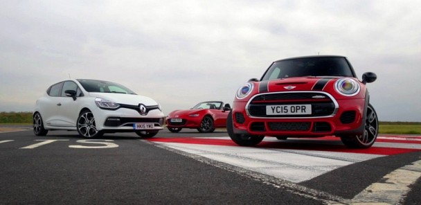 2015 Mazda MX-5 vs Mini Cooper S JCW, Renault Clio RS 220 Trophy and Toyota GT 86 - Shootout