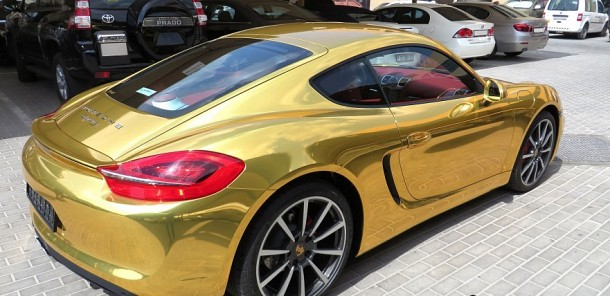 Porsche Cayman wrapped CHROME GOLD!