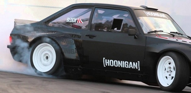 Ken Block Slays Tires in the Gymkhana Escort at the Donut Garage