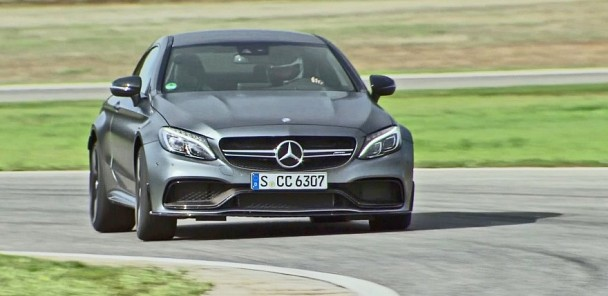 2016 Mercedes-AMG C 63 S Coupe on Racetrack (Designo Selenit Grey Magno)